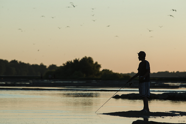 Wesly Ramos of Rio Grande Valley, Texas, fishes off an island in the Maumee River near Grand Rapids, Ohio as birds are seen rising out of the water on the evening of July 11, 2012.